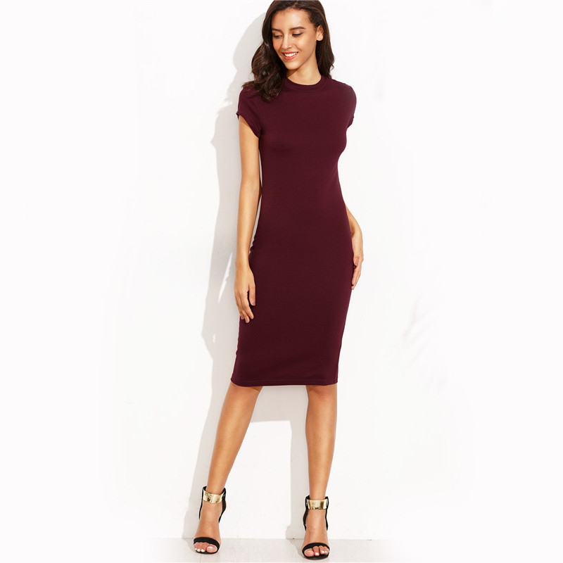 COLROVIE Summer Office New Arrival Women's Bodycon Dresses Fashion Sexy Short Sleeve Crew Neck Work Knee Length Dress 17