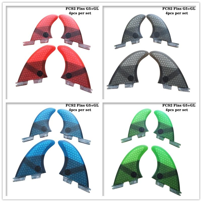 Surfboard FCS2 G5 GL fins Black Blue Red Green color Honeycomb Fibreglass fin Quad fin set