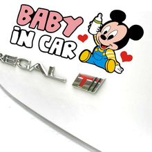Etie Baby In Car Sticker Funny Mickey Mouse Cartoon Decal Lovely Accessories for Bmw Ford Focus Volkswagen Golf Renault Toyota