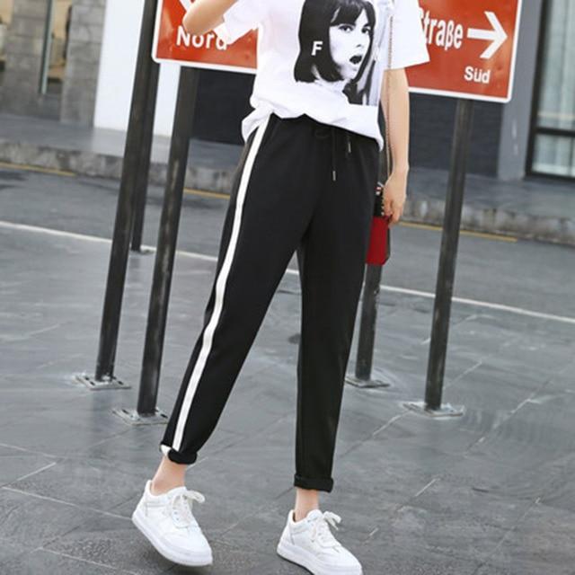 c5433f57462 2017 Casual Style Women Side Stripes Harem Pants Black High Waist Plus Size  Female Drawstring Comfortable Trousers Slacks pant