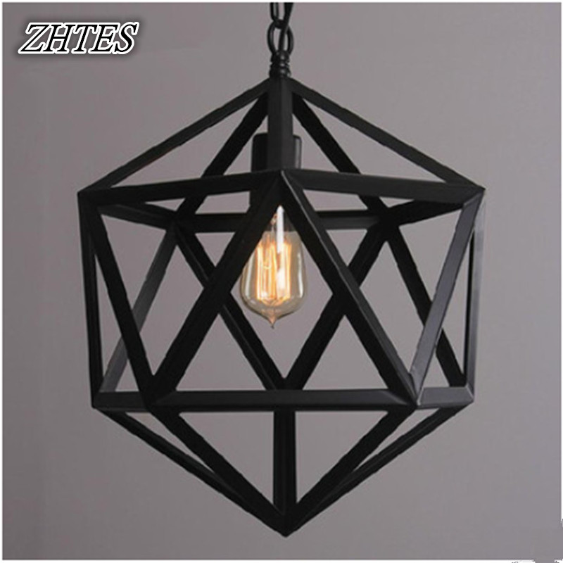Loft Industrial Retro Iron Chandelier Cafe Bar Diamond Lamps ceiling lights modern minimalist style iron round led living room ceiling lamp bedroom entrance hall balcony corridor lighting