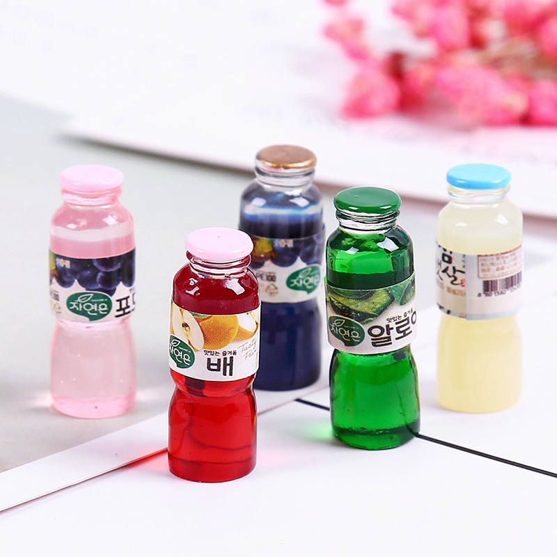 10Pcs Charms For Slime Juice Drink Bottle Resin Plasticine Beads Making Supplies Lizun DIY Slime Accessories Model Tool For Kids