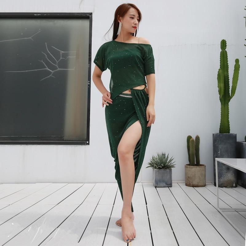 2 PCS/SET New Sequins Split Belly Dance Costumes Suit Hip Scarf+Top Female Oriental Belly Dance Practice Wear Bellydance Cloth