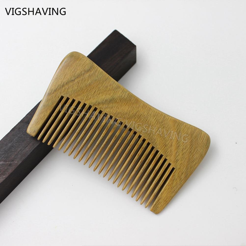 Alami Hijau Sandalwood Sempit Gigi Saku Comb Beard Rambut Fiber Glass Cloth 017 Meteran Gaya Alat