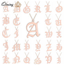 Custom Letter Couple Necklace Men Women Initial Name Stainless Steel Jewelry Rose Gold Ethnic Gold Friendship Necklaces Gift(Hong Kong,China)
