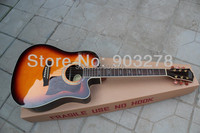 sunburst acoustic guitar with Solid Spruce body DA018