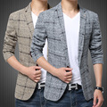 2017 New Arrival Men's Clothing Thick Cotton Slim Plaid Casual Overcoat Full Turn-Down Collar Leisure Men Blazers Freeshipping