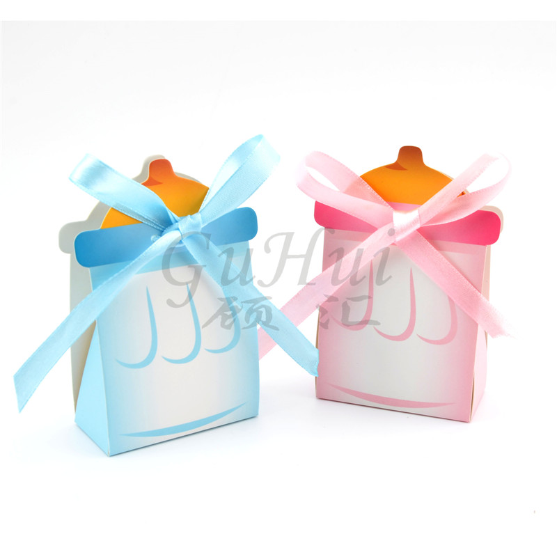 50pcslot baby milk bottle candy box pink girl blue boy baby shower baptism christening