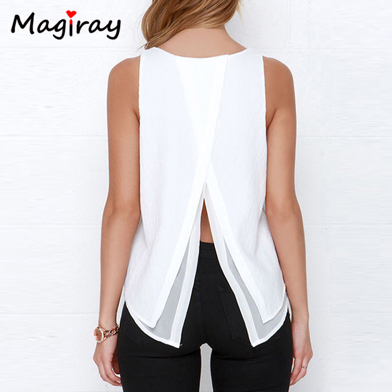 Individual Tee Shirt Femme 2020 Summer Style Women Tops Sleeveless Double Layer Ropa Mujer Loose blusas White Blouse T107