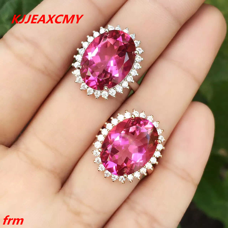 KJJEAXCMY Fine jewelry 925 sterling silver encrusted ring fingerprite ruby red tourmaline 10 carats