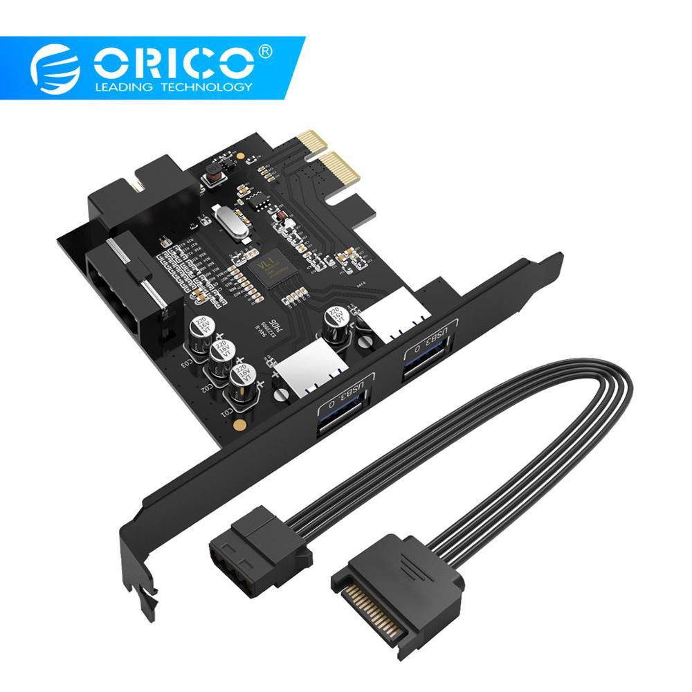 ORICO USB 3.0 PCI-E carte d'extension adaptateur PCI-E USB 3.0 HUB contrôleur adaptateur carte pour Windows Vista PC ordinateur portable (PVU3-2O2I)