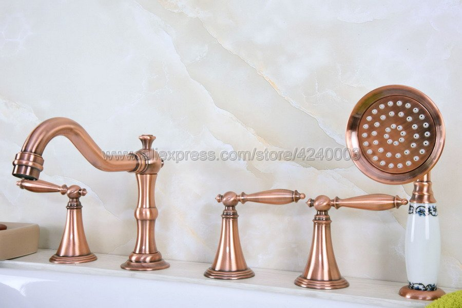Antique Red Copper Widespread 5 Holes Roman Bathtub Faucet Tap Hand Shower Ktf220Antique Red Copper Widespread 5 Holes Roman Bathtub Faucet Tap Hand Shower Ktf220