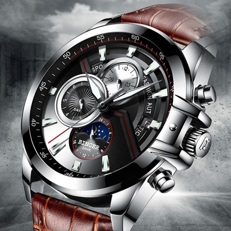 2019 Skeleton watch Switzerland BINGER Fashion Swimming Automatic Watch Men Waterproof Calendar Moon phase Leather band Luminous-in Mechanical Watches from Watches    1