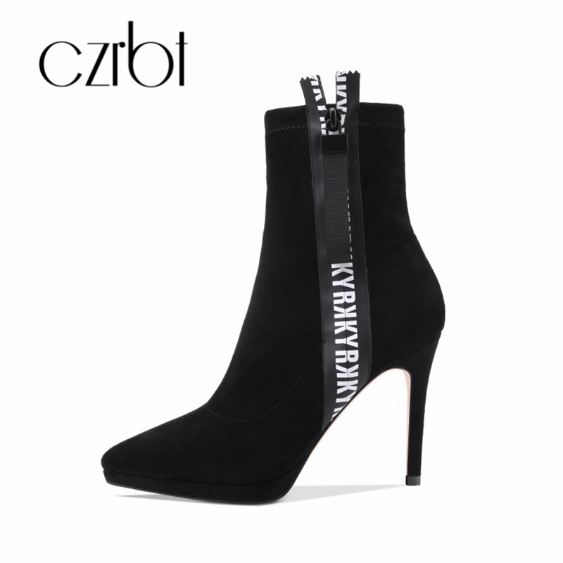 czrbt 2018 Faux Suede zipper fashion Ankle Boots for Women Shoes Pointed Toe High Square Heel Botas Mujer Botte Femme цена