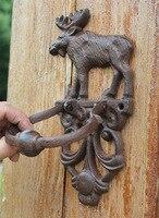 2 Cast Iron Door Knocker Elk Moose Decorative Doorknocker Traditional Vintage Style Animal Door Handle Door Latch Country Brown