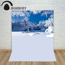 Christmas backdrop photography Allenjoy Snow house snow forest background photographic studio vinyl camera photo for sale