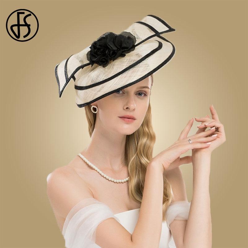 Sombreros elegantes de mujer para bodas, sombrero de cóctel de Sinamay con flores, vestido de iglesia de Kentucky - 3