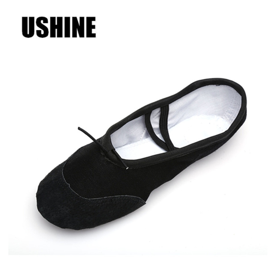 USHINE Black Canvas Slippers Indoor Exercising Soft Ballet Shoes Dance For Girls Ballet Shoes Dance Kids Ballet Shoes Children