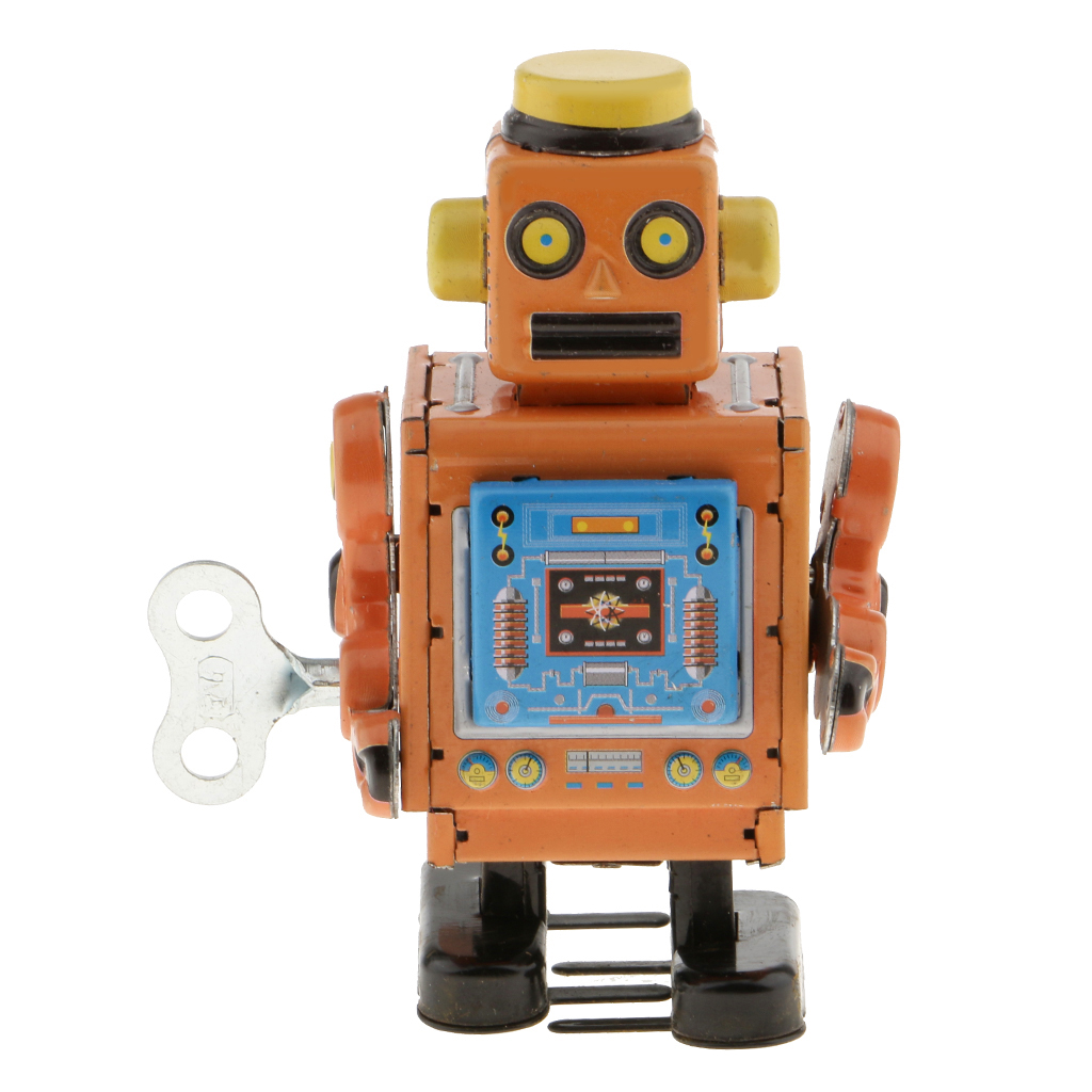 MagiDeal 1Pc 10cm Vintage Wind Up Clockwork Mechanical Walking Tin Crafted Robot Handmade Toy For Boys Birthday Gift Yellow