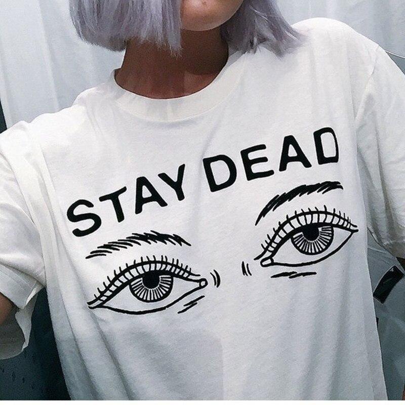 Camisa de t feminina 2016 verão nova moda impressa estadia morta carta em torno do pescoço camiseta