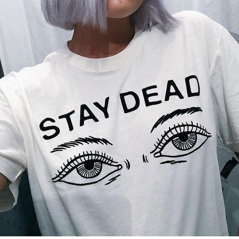 Frauen t shirt 2016 sommer neue mode gedruckt tot bleiben brief rundhals T-shirt