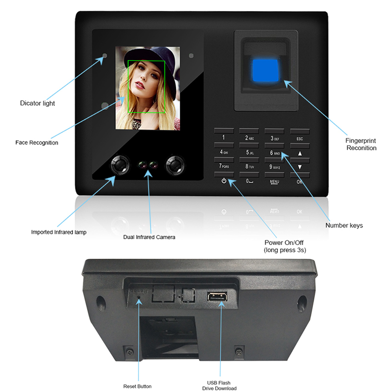 Купить с кэшбэком Eseye Face Recognition Biometric Fingerprint Time Attendance System Access Control Attendance Machine