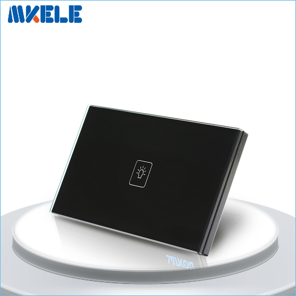 US Standard Touch Switch Black Crystal Glass panel 1 Gang 2 Way Light Switch Touch Screen wall switch wall socket for lamp free shipping us au standard touch switch 2 gang 1 way control crystal glass panel wall light switch kt002us