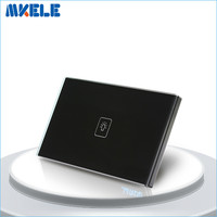 US Standard Touch Switch Black Crystal Glass Panel 1 Gang 1 Way Light Switch Touch Screen