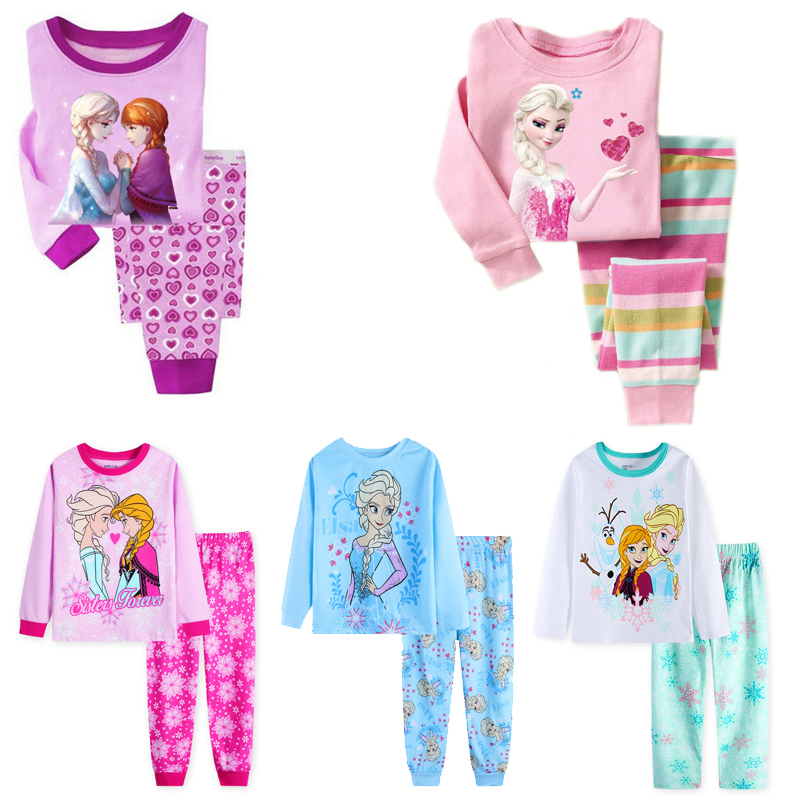 New Girls Horse Pajamas Kids Princess ANNA ELSA Sleepwear Children  Cartoon Clothing Set Baby Long Sleeve Pijamas Home Clothing
