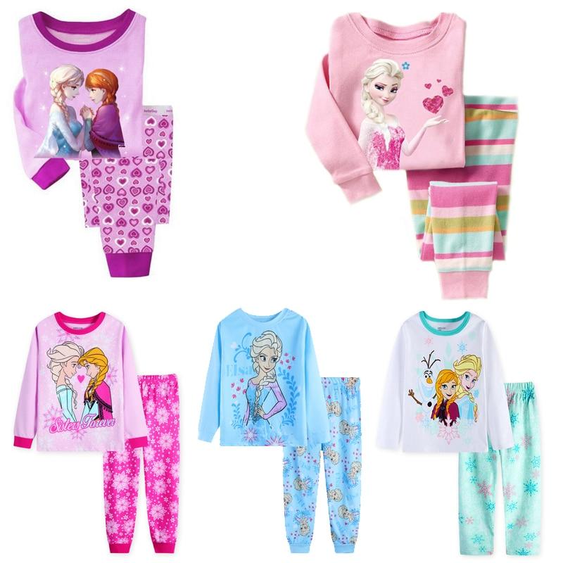 New Girls Horse Pajamas Kids Princess ANNA ELSA Sleepwear Children  Cartoon Clothing Set Baby Long Sleeve Pijamas Home Clothing