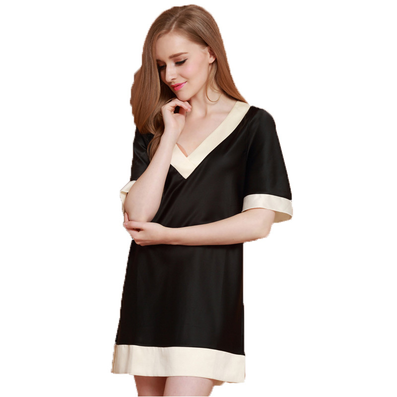 Free Shipping 2016 New Silk Satin womens Nightgown Fashion Short Sleeve Loose Summer Female Home Wear Nightdress Plus Size Hot