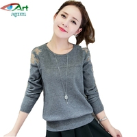 JQNZHNL 2017 New Spring Autumn Women Knitting Sweater Long Sleeved Knitted Shirt Fashion Round Neck Lace