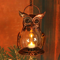 Owl Tealight Holder Hurricane Candleholders Hanging Lantern For Outdoor Indoor Party Decor Wedding Gift Red Bronze