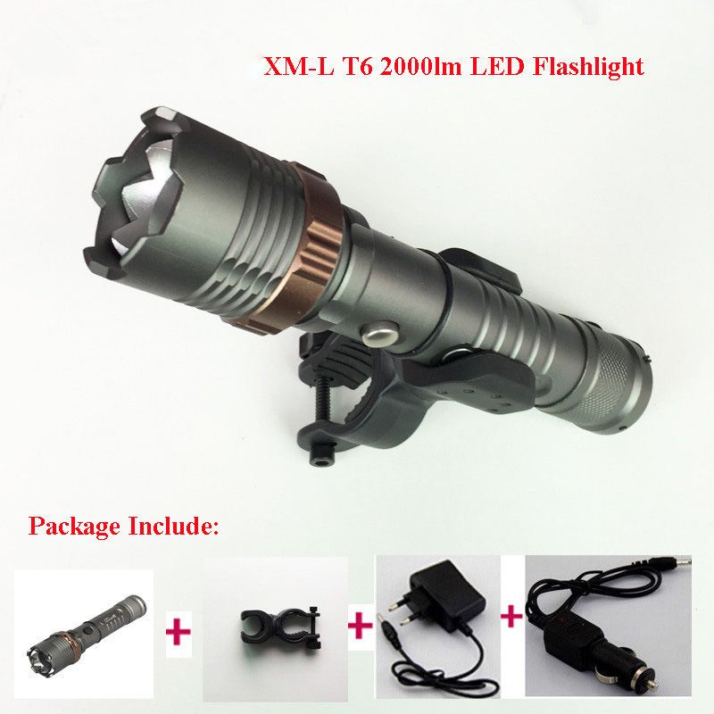 2000LM XML T6 LED Rechargeable Flashlight Torch Lighting 5 Mode Lanterna Zoomable FlashLight AC Car Charger