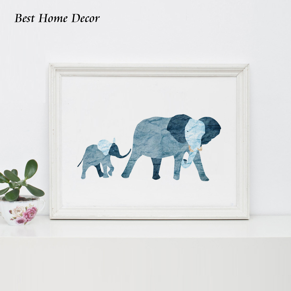 Baby blue elephant art print nursery art blue baby for Home decor 2 love