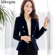 2018 Red Black Velvet Blazer Women Vintage Button Working Suit Jacket Female Spring Korean Slim Blazers Formal Woman Coat A720