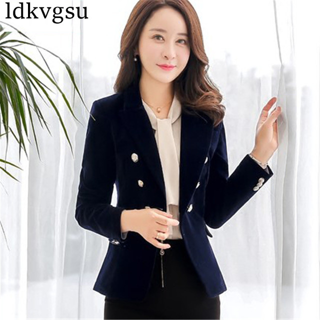 c8e34d101ac 2018 Red Black Velvet Blazer Women Vintage Button Working Suit Jacket Female  Spring Korean Slim Blazers Formal Woman Coat A720