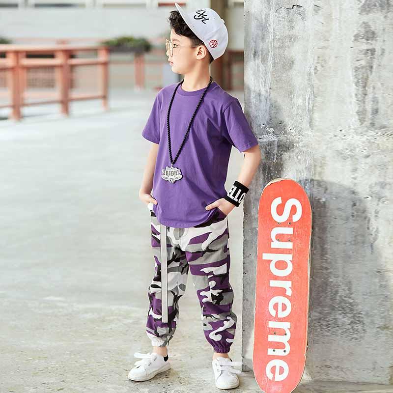 Intellective Ragazzi Hip Hop Costume Viola A Maniche Corte Top Viola Camouflage Pantaloni Di Bambini Di Strada Vestiti Di Jazz Di Ballo Di Usura Dei Bambini Della Fase Bdy030