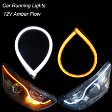 2pcs 60cm Flexible Waterproof LED DRL Strip Light Car Running Lights 12V White Amber Flowing Headlight Warning