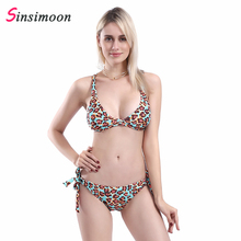 New Cross Bust Bikini Women Crop Top Biquini Vintage Bathing Suit Floral Print Beachwear Sexy Two Pieces