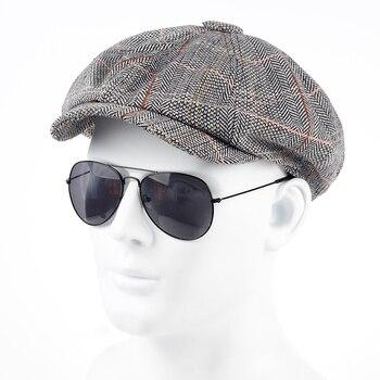 Túnica 2017 nueva moda sombrero octogonal noticias actor sombrero Otoño  Invierno hombre internacional Superstar Jason Statham modelo masculino b292e5f3712