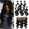 8A Ear To Ear 13x4 Full Lace Frontal Free Part Closure With Baby Hair And Bundles Brazilian Virgin Hair Body Wave With Closure
