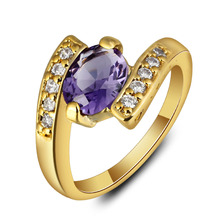 New Gold Plated Stainless Steel Wedding Ring For Women Zirconia Crystal Engagement Rings Femme Jewelry Couple Zircon Wholesale