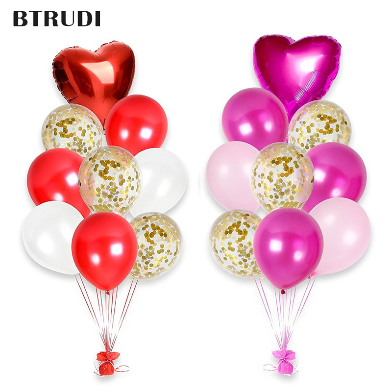 2sets 2Pink red Happy Valentines Day Confetti Balloons Bouquet Party Decorations Kit 12  balloon heart uminum foil