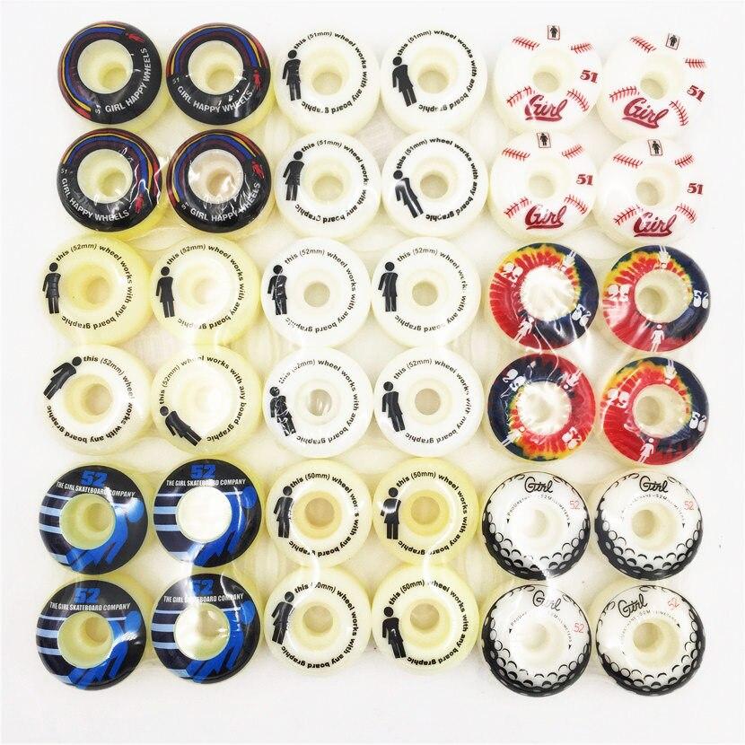 Chica elemento 4 piezas Skateboard Wheels 50/51/52/53/54mm ruedas para doble balancín cubierta con buen precio Ruedas patinaje Patines