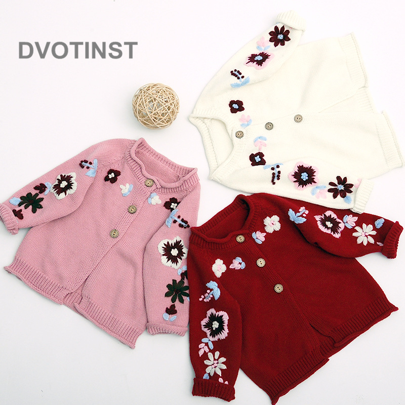 Dvotinst Newborn Baby Girls Clothes Knit Crochet Full Sleeves Coat Baby Onesie Flower Outfits Toddler Jumpsuit Clothing Costume