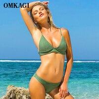 OMKAGI Brand Solid Brazilian Bikini 2018 Swimsuit Swimwear Women Micro Bikinis Set Sexy Push Up Swimming