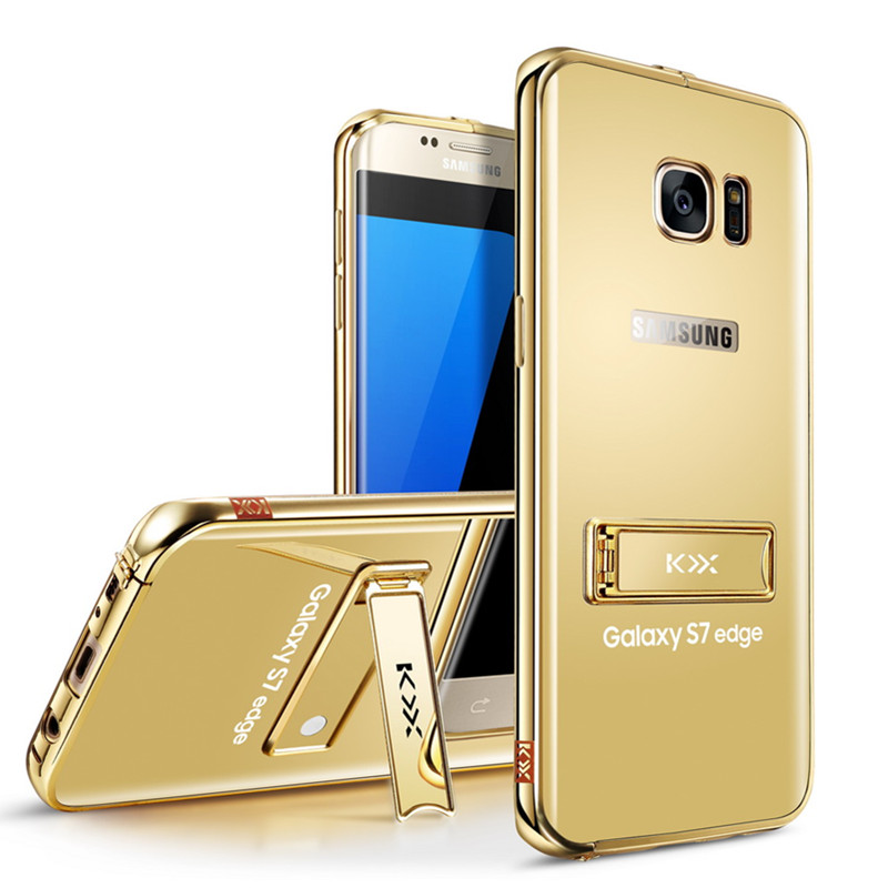 newest c10db 2db4b US $18.99 |For Samsung S7 edge Mirror Case Gold Plated Metal + Acrylic  KickStand Phone Cover For Samsung Galaxy S7 Edge Case Luxury Celular on ...