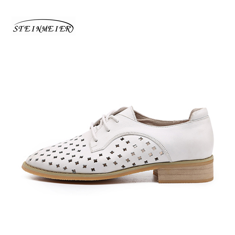 women flat summer casual shoes 100% genuine cowskin leather hollow breathable flat round toe handmade retro brogue white shoes-in Women's Flats from Shoes    2