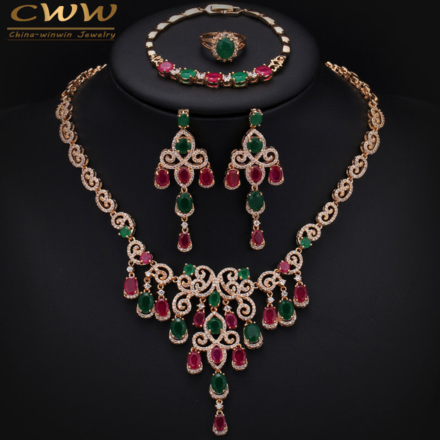Gold Plated African Natural Green And Red Stones Big Necklace Earring Bracelet And Ring 4 Pcs Jewelry Set For Wedding T255